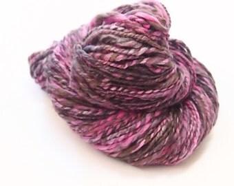 Aran weight - Thick and thin Handspun yarn 2-ply- Merino Wool and Bamboo - 114 yards of handspun art yarn