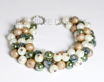 Sage, Beige and Ivory Pearl Bracelet, Off White, Taupe and Sage Cluster Bracelet, Neutral Pearl Cluster Bracelet, Sage Bridesmaid Bracelet,