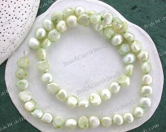 Sale Beads, Destash Beads, 1 Strand 8 to 9mm Light Green Fresh Water Potato Pearls, Destash Pearl Beads, Destash Supplies DS-862