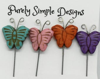 Pincushion Pins, Butterfly Pins, Decorative Pins, Scrapbooking pins, Lapel pin, Hat Pin, Floral Pin