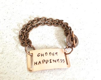 CHOOSE HAPPINESS Inspiration Bracelet, Hand Stamped Copper Bracelet, Statement Bracelet