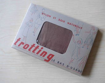 """RARE Amazing French Vintage 1940's WWII Silk & Nylon Seamed Stockings in Original Box """"Trotting"""" Brand - Rusty Beige - Size 3"""