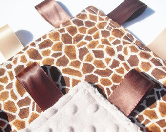 Baby Taggie Blanket - Giraffe 100% cotton design with Latte Super Soft Minky - Can be personalized