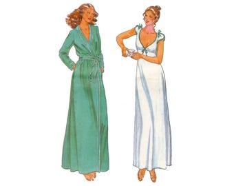Vintage 1980s Butterick 6370 long nightgown, wrap robe, John Kloss, empire waist, tie cap sleeve, size 10 12 bust 32 34 UNCUT sewing pattern