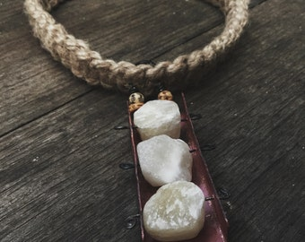 Raw stone, yellow Jade, metalwork necklace | rustic necklace, raw stone necklace, organic earthy, copper necklace, statement necklace