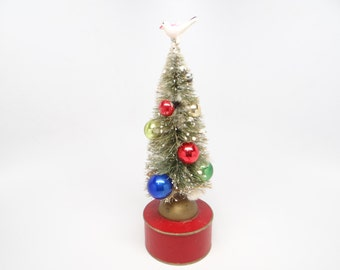 Vintage 1940's Bottle Brush Christmas Tree Candy Container, Mercury Glass Ornaments, Celluloid Bird
