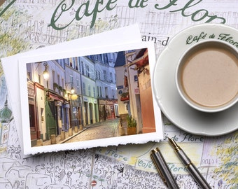 Paris Photography Notecard - Rue Norvins at Night Notecard, Stationery, Blank Card, Greeting Card, White Deckle Edge