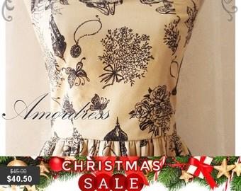 Christmas SALE Summer Dress Vintage Inspired Fairy Tale Dress Cottage City Gold Beige Dress Beige Alice in Wonderland Tea Party Dress- XS-XL