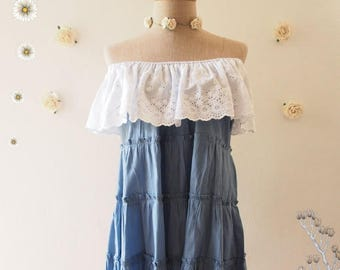 Clearance SALE One Fine Day - Beach Tunic Summer Blouse Cotton Denim Drop Shoulder Blouse Blue Shirt Hipster Clothing Matunity Blouse Tun...