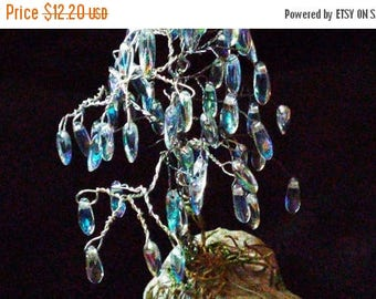 ON SALE at Etsy The Crystal Willow Tree, Silver Wire Wrapped, AB Drop Crystals, Mounted on an Ancient Fossilized Bone,Great Gift,Christmas,M