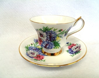 Royal Victoria Fine Bone China Teacup and Saucer Set, with Multi-colored Bachelor Buttons, Gold Band and Gold Trim