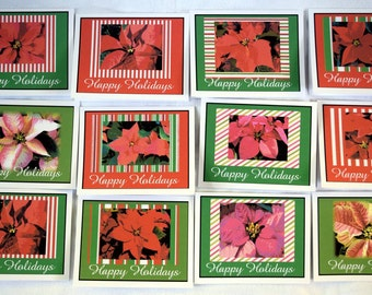 Christmas Painted Poinsettia Flower - Notecards