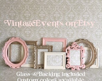 Gallery Wall PICTURE FRAMES -  Vintage Style - shabby chic Nursery collage - Wedding - oval - Pink and Gold - Glass and Backing