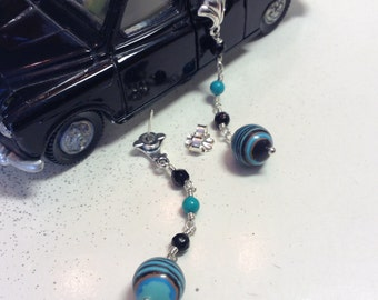 Fordite - Dearborn Michigan Vintage Car Paint Hand-cut Bead Dangle Earrings, Sterling Silver, Turquoise & Black Onyx accent Beads