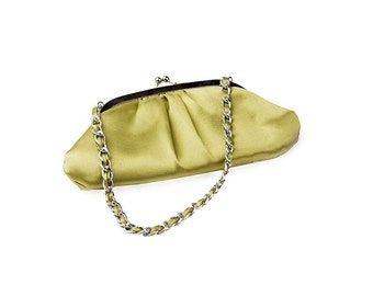 Lime Green Evening Bag, Silver Chain, Cocktail Handbag, Vintage Clutch