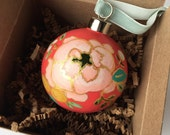 Hand painted floral Christmas ornament - red 6