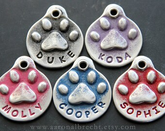 Dog Tag for Dogs - Custom Dog Tags - Paw Print Dog ID Tag - Pet Tags - Dog Name Tag - Personalized Dog Tag - Hand Stamped Dog Collar Tags