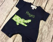 boys alligator shirt, baby boy alligator shirt, alligator shirt, boys alligator romper, baby alligator romper, boys summer shirt