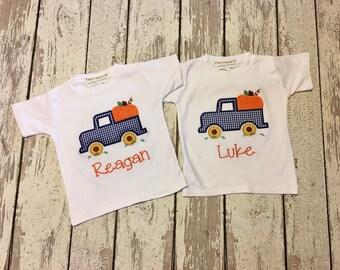 Boys Pumpkin Shirt, Boys fall pumpkin applique shirt, Pumpkins in wagon shirt,  baby's first pumpkin patch, boy pumpkin patch shirt