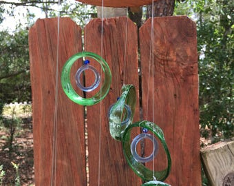 green lt, blue, GLASS WINDCHIMES-RECYCLED bottles ,wind chime, garden decor, wind chimes,  musical, home decor, mobile
