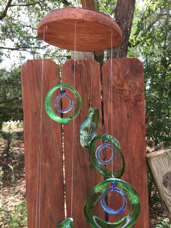 Glass Wind Chimes from RECYCLED bottles, eco friendly ,green blue, wind chime, garden decor, wind chimes,  musical, home decor, mobile