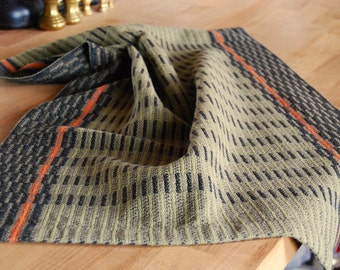 Handwoven Tea Towel Midnight Stripes Olive