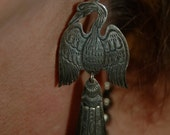 "Vintage Navajo Silversmith Scott Skeets Elegant Hand Wrought Stamped 3 1/4"" Long Bird Earrings"