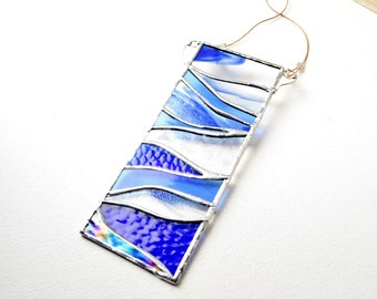 Stained Glass Panel Suncatcher Blue Hills Moonlight  In Veil Blue And Clear Glass by jacquiesummer