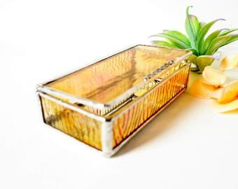 Pale Peach Glass Box, Glass Box, Glass Display Box, Glass Jewelry Box, Jewelry Box, Gift For Girlfriend, Bridesmaid Gift