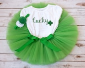 "St. Patrick's Day outfit ""Emerald"" Lucky charm tutu outfit St Patricks Day baby girl St Pattys Day outfit girl first St Patricks Day outfit"