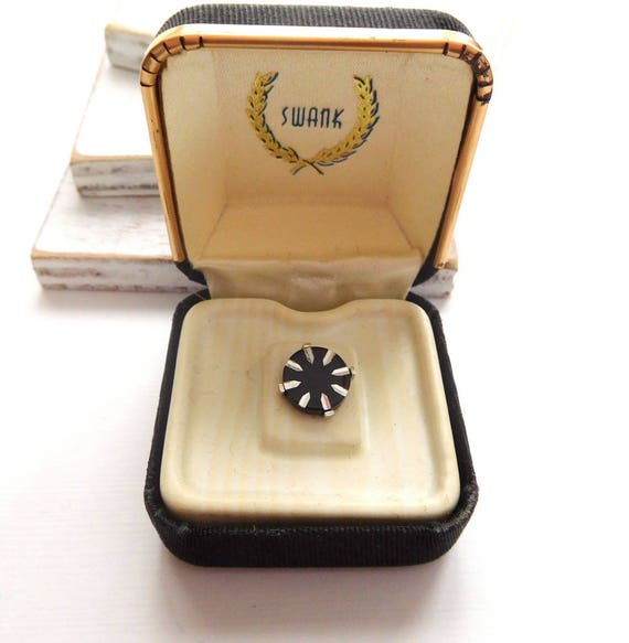 Vintage Swank Black Silver Circle Tie Tack Pin Men's Vintage Jewelry In Box C38