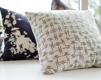 Screen printed linen pillow cushion case