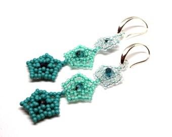 Teal Earrings, Long Earrings, Beaded Earrings, Teal Jewelry, Flower Earrings, Dangle Earrings, Beadwoven Teal Earrings, Beaded Earrings