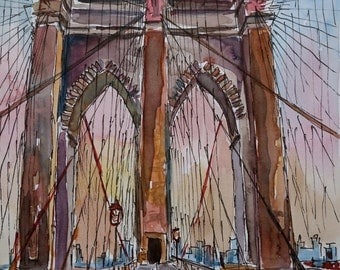Brooklyn Bridge New York City Pedestrian Walk - Limited Edition Fine Art Print
