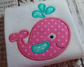 Appliqué whale machine embroidery design file, embroidery whale design, baby whale design, nursery baby whale appliqué embroidery file