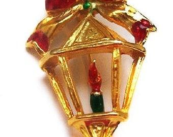 "Lantern Candle Xmas Brooch Red Green Enamel Gold Metal 2"" Vintage Holidays"