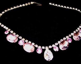 """Rhinestone Wedding Bib Necklace Smoke Lavender Color Silver Metal 15 1/2"""" Vintage"""