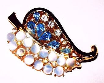"Blue Moonstone Leaf Brooch Teardrop Rhinestones Gold Metal 2 1/4"" Vintage"