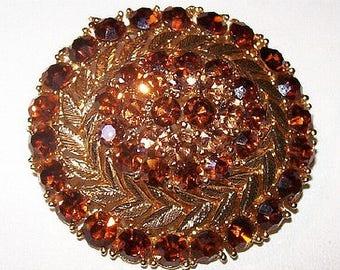 "Lisner Brooch Pin Signed Topaz Mink Brown Rhinestones Gold Metal 2"" Vintage"