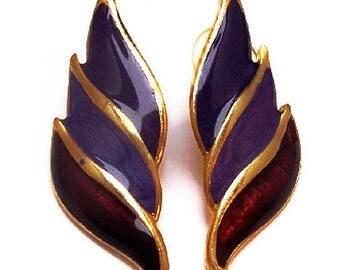 """Purple Enamel Earrings Post Backs Pierced Ears Gold Metal Modern Fashion 2"""" Vintage"""