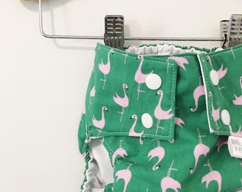 Flamingo PUL Lined Water Resistant Diaper Cover Available in Small
