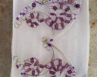 Purple and silver elf ear cuffs