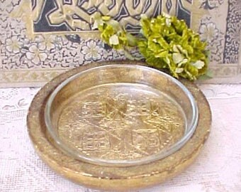 Handsome and Unusual Old World Look Italian Florentine Bowl with Glass Insert