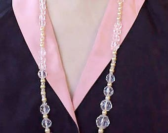 Pretty Vintage Necklace of Multi-Faceted Crystal Beads and Light Yellow Faux Pearls
