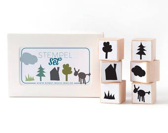 """Rubber Stamps """"Around the World"""" (Set of 6) House Tree Cloud Cow Grass Landscape Cut-Out Stampset"""