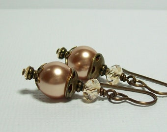 Rose Gold Pearl Earrings. Swarovski Pearl and Crystal Earrings. Boho Earrings. Brass Earrings.