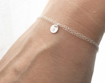 Personalized TINY Initial Bracelet / Everyday Jewelry / Custom Bracelet /Available in Rose Gold Filled, 14K Gold Filled and Sterling Silver