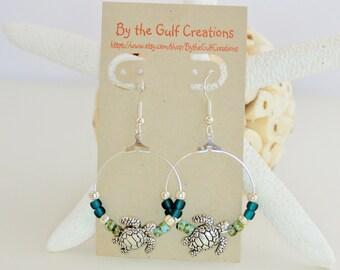 Hoop Earrings, Sea Turtles, Aqua, Green, For Her
