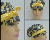 Handmade Woman Surgical Scrub Cap - Giraffes and Dots - Yellow/Gray - 100 % cotton