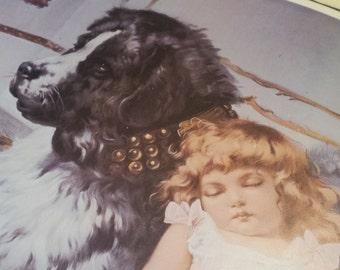 Vintage Girl And Dog Print Etsy